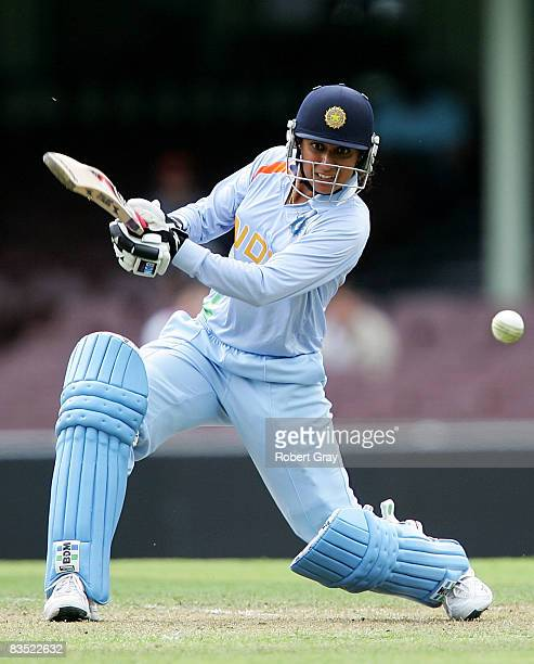 Anjum Chopra of India plays a stroke during the second women`s one day international match between the Australian Southern Stars and India at the...