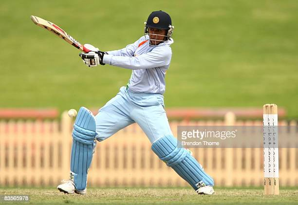 Anjum Chopra of India plays a stroke during the third women`s one day international match between the Australian Southern Stars and India at North...
