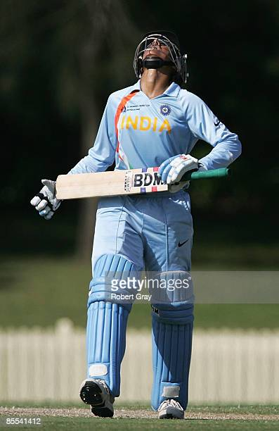 Anjum Chopra of India reacts after being bowled out by Erin Osbourne of Australia during the ICC Women's World Cup 2009 3rd v 4th play off match...