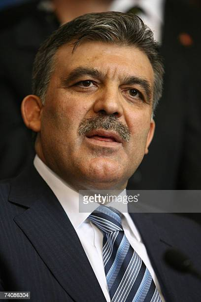 Turkey's Foreign Minister Abdullah Gul Turkey's ruling AK Party's presidential candidate addresses the media at the Turkish parliament in Ankara 06...