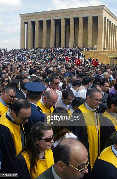 Turkish lawyers stand 18 May 2006 at the mausoleum of Mustafa Kemal Ataturkfounder of modern Turkey during a symbolic gesture of protest against the...