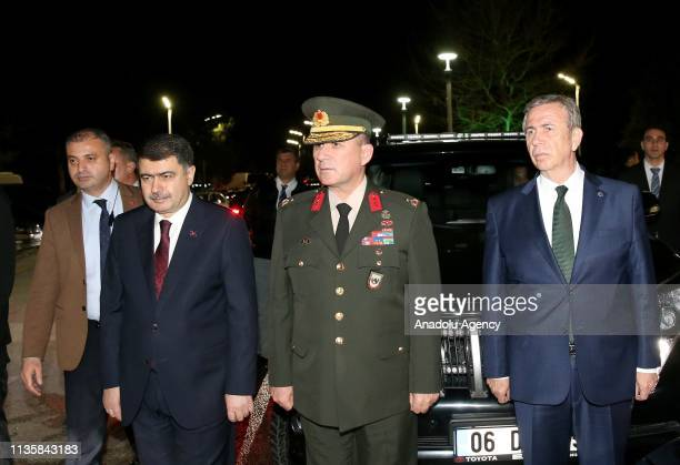 Ankara's newly elected mayor Mansur Yavas and Ankara Governor Vasip Sahin arrive at Ankara's Esenboga Airport to welcome President of Turkey Recep...