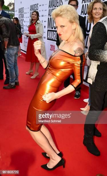 Ankathie Koi poses at the red carpet during the Amadeus Award 2018 on April 26 2018 in Vienna Austria