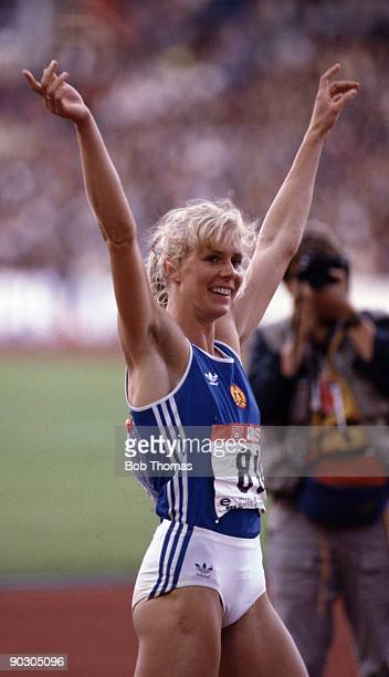 Anke Behmer of East Germany gold medallist in the heptathlon at the 14th European Athletics Championships held in Stuttgart Germany September 1986