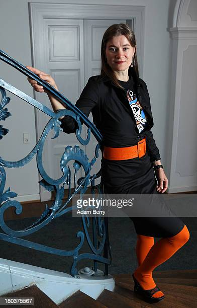 Anke Domscheit-Berg, chairwoman of the State of Brandenburg Pirate Party and a candidate for the Bundestag in upcoming general elections, poses prior...