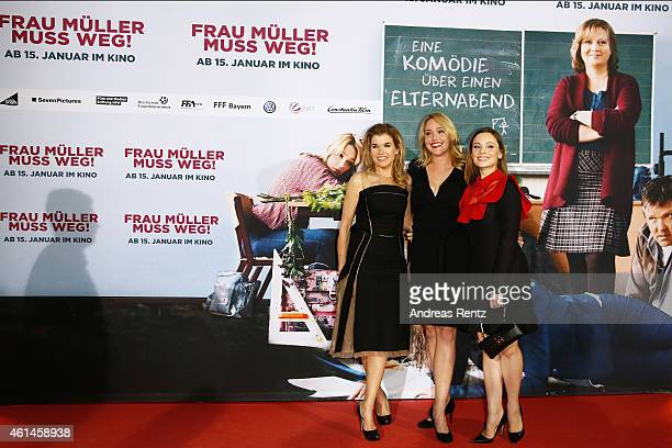 Anke Engelke Alwara Hoefels and Mina Tander attend the premiere of the film 'Frau Mueller muss weg' at Cinedom on January 12 2015 in Cologne Germany