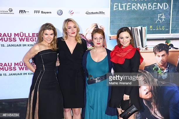 Anke Engelke Alwara Hoefels Gabriela Maria Schmeide and Mina Tander attend the premiere of the film 'Frau Mueller muss weg' at Cinedom on January 12...