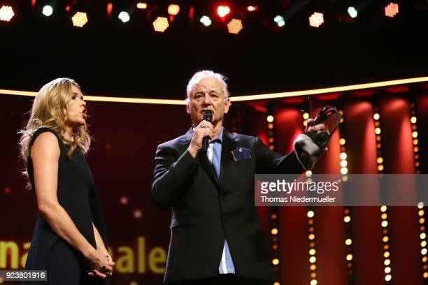 Anke Engelke and Bill Murray are seen on stage at the closing ceremony during the 68th Berlinale International Film Festival Berlin at Berlinale...