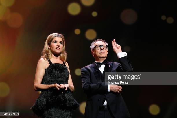 Anke Engelke and Dieter Kosslick speak on stage at the closing ceremony of the 67th Berlinale International Film Festival Berlin at Berlinale Palace...