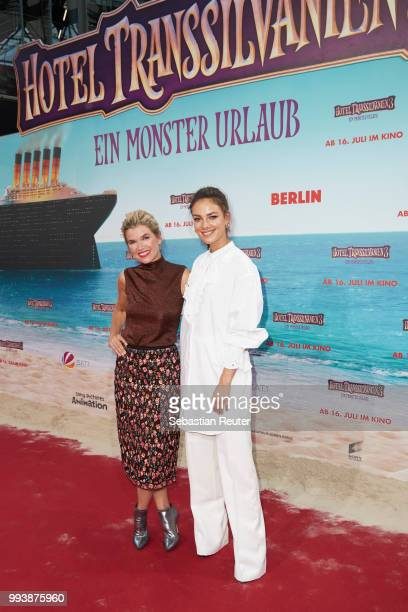 Anke Engelke and Janina Uhse attend the 'Hotel Transsilvanien 3' premiere at CineStar on July 8, 2018 in Berlin, Germany.