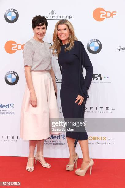 Anke Engelke and Nina Kunzendorf during the Lola German Film Award red carpet arrivals at Messe Berlin on April 28 2017 in Berlin Germany
