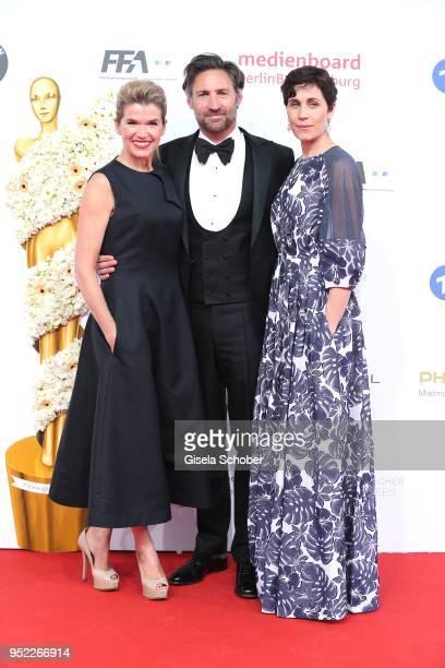 Anke Engelke Benjamin Sadler and Nina Kunzendorf during the Lola German Film Award red carpet at Messe Berlin on April 27 2018 in Berlin Germany