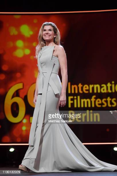 Anke Engelke is seen on stage at the closing ceremony of the 69th Berlinale International Film Festival Berlin at Berlinale Palace on February 16...