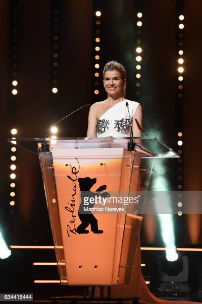 Anke Engelke speaking on stage at the opening ceremony during the 67th Berlinale International Film Festival Berlin at Berlinale Palace on February 9...