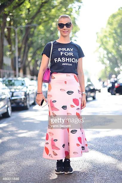 Anke Hensel poes wearing a Saloni skirt before the Armani show during the Milan Fashion Week Spring/Summer 16 on September 25 2015 in Milan Italy