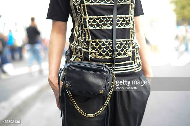 Anke Hensel poses wearing a Balmain shirt and Hugo Boss bag on September 20 2014 in Milan Italy