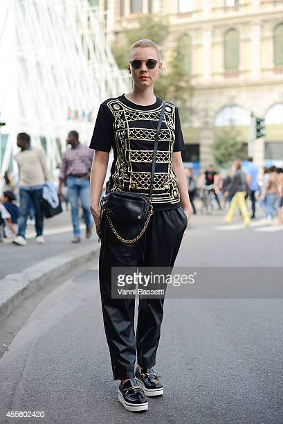 Anke Hensel poses wearing a Balmain shirt and Stella McCartney shoes on September 20 2014 in Milan Italy