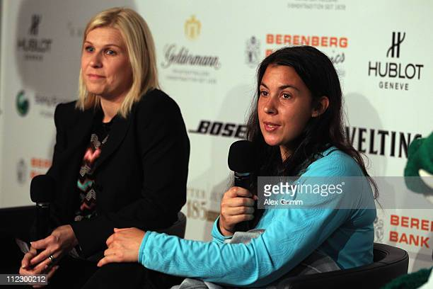 Anke Huber and Marion Bartoli answer children's questions during the Porsche Tennis Grand Prix at Porsche Arena on April 18 2011 in Stuttgart Germany