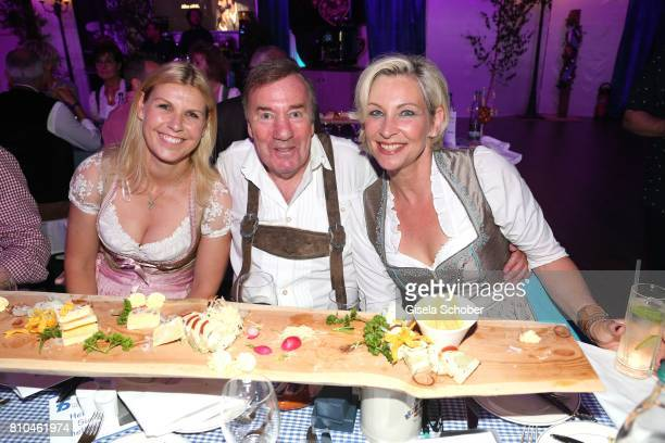 Anke Huber Frank Fleschenberg and Claudia Jung during a bavarian evening ahead of the Kaiser Cup 2017 at the Quellness Golf Resort on July 7 2017 in...