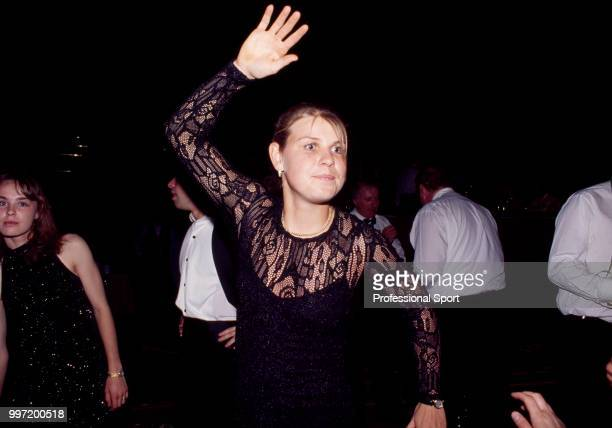 Anke Huber of Germany dancing at the Players' Party during the Hopman Cup tennis tournament in Perth Australia circa January 1996