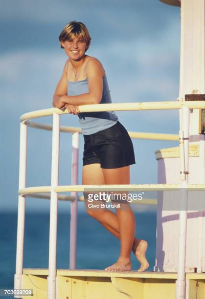 Anke Huber of Germany poses for a portrait on South Beach Miami during the ATP Lipton Tennis Championship on 26 March 1999 in Miami Florida United...