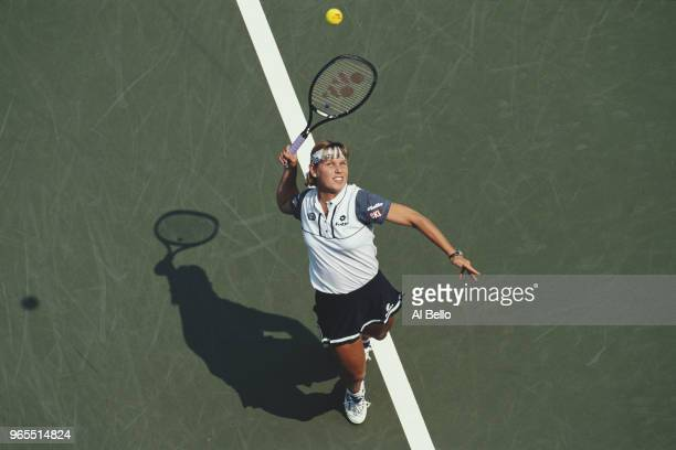 Anke Huber of Germany serves to Janet Lee during their Women's Singles Second Round match of the US Open Tennis Championship on 27 August 1997 at the...