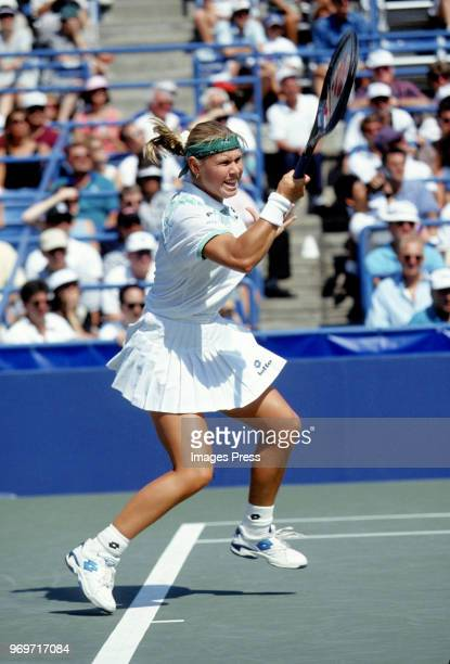 Anke Huber plays tennis during the 1995 US Open in New York City