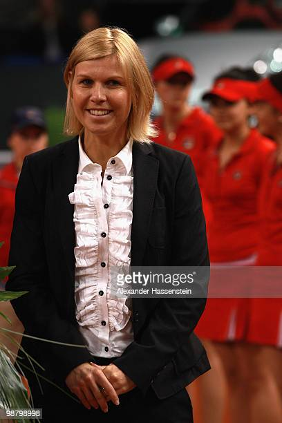 Anke Huber smiles at the final day of the WTA Porsche Tennis Grand Prix Tournament at the Porsche Arena May 2 2010 in Stuttgart Germany