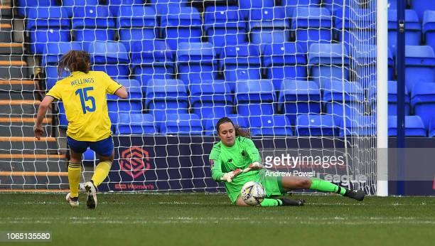 Anke Preuss of Liverpool Women makes a save during the Womens Super League match between Liverpool Women and Birmingham City Women at Prenton Park on...