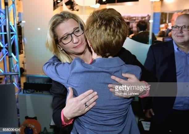Anke Rehlinger lead candidate of the German Social Democrats and Annegret KrampKarrenbauer lead candidate of the German Christian Democrats react...