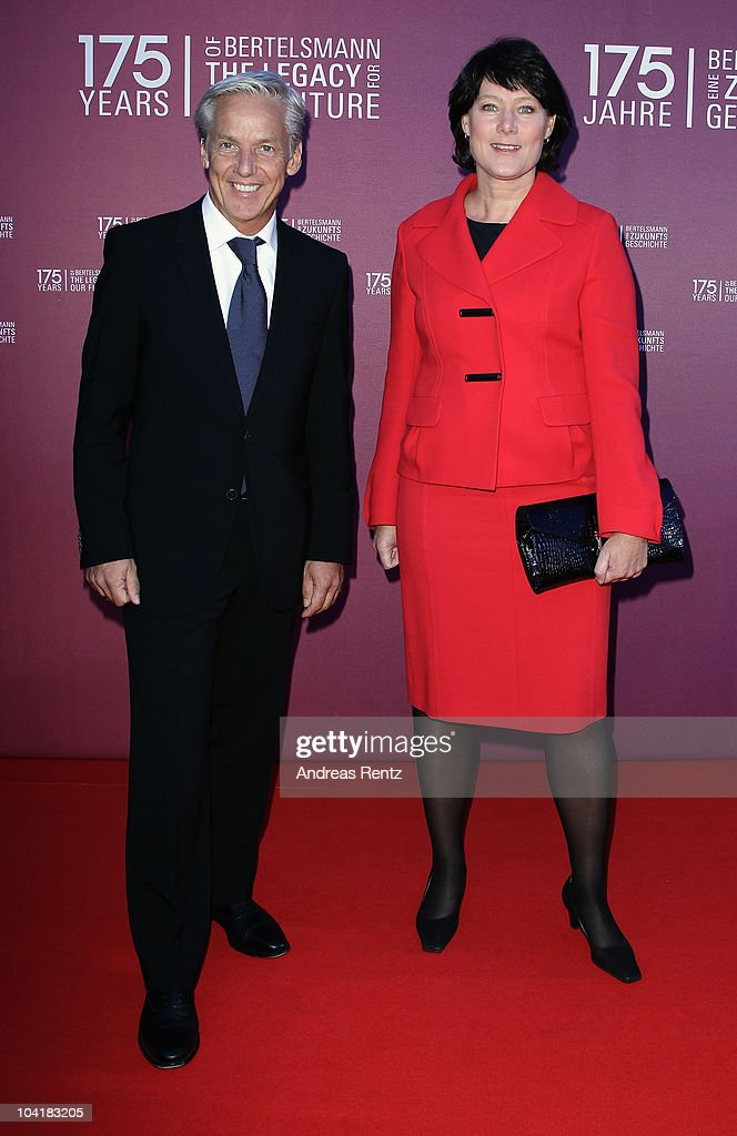Anke Schaeferkordt (CEO of RTL Television Group) and guest arrive for the Bertelsmann 175 years celebration ceremonial act at the Konzerthaus am Gendarmenmarkt on September 16, 2010 in Berlin, Germany.