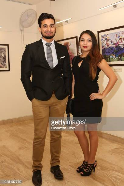 Ankit Gauniyal and Sybil Haro during a photography exhibition 'La Virgen de la Candelaria' at the Art Gallery of Embassy of Peru, Vasant Vihar on...