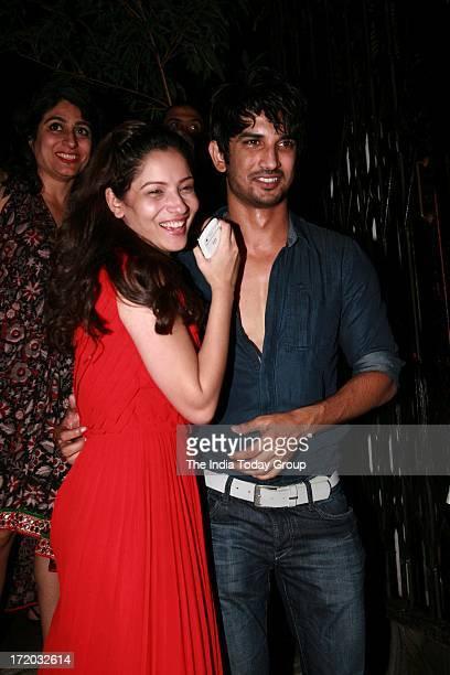 Ankita Lokhande and Sushant Singh Rajput at Abhishek Kapoors party for his girlfriend at Nido restaurant in Mumbai