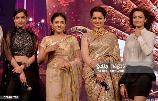 Ankita Lokhande Kangana Ranaut and Mishti at the music launch of movie Manikarnika in Mumbai