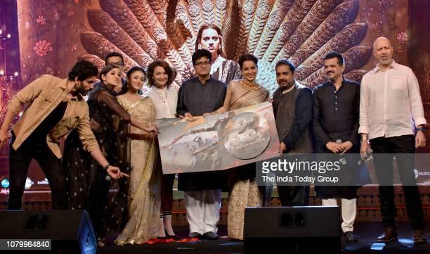 Ankita Lokhande Kangana Ranaut Shankar Ehsaan Loy Prasoon Joshi Mishti and Taher Shabbir at the music launch of movie Manikarnika in Mumbai