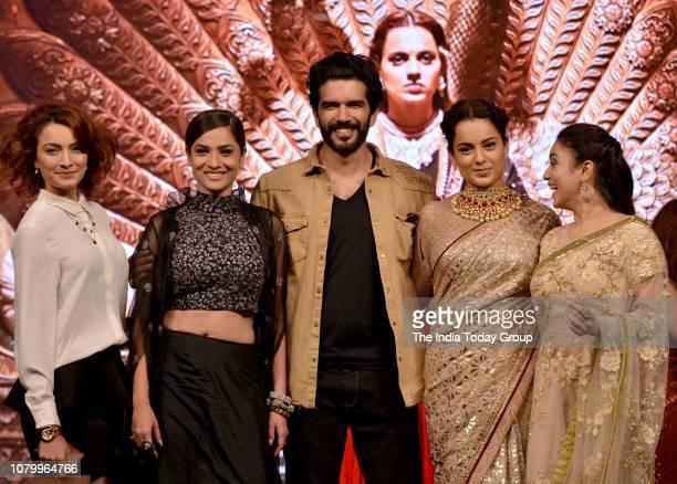 Ankita Lokhande Kangana Ranaut Taher Shabbir and Mishti at the music launch of movie Manikarnika in Mumbai