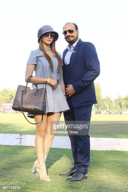 Ankita Rai and Dakh Oberoi during HH Maharaja Jiwaji Rao Scindia Gold Cup 2017 a charity polo event at Jaipur Polo Ground on February 26 2017 in New...