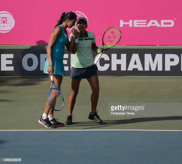 Ankita Raina and Karman Kaur Thandi from India in action during BVG Pune Open Women's Championship at Shree Shiv Chhatrapati Sports Complex Balewadi...