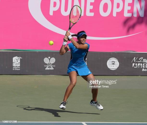 Ankita Raina in action during BVG Pune Open Women's Championship at Shree Shiv Chhatrapati Sports Complex Balewadi on November 27 2018 in Pune India