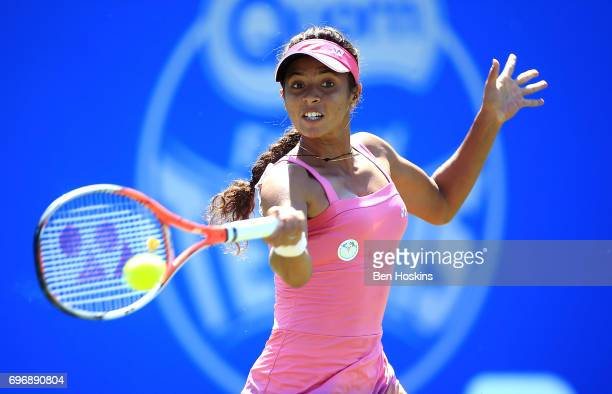 Ankita Raina of India hits a forehand during the qualifying match against Katy Dunne of Great Britain at Edgbaston Priory Club on June 17 2017 in...