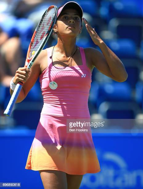 Ankita Raina of India reacts during the qualifying match against Katy Dunne of Great Britain at Edgbaston Priory Club on June 17 2017 in Birmingham...
