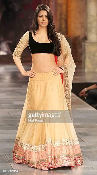 Ankita Shorey during Shabana Azmi's charity fundraising fashion show Mijwan at Grand Hyatt in Mumbai on September 3 2012