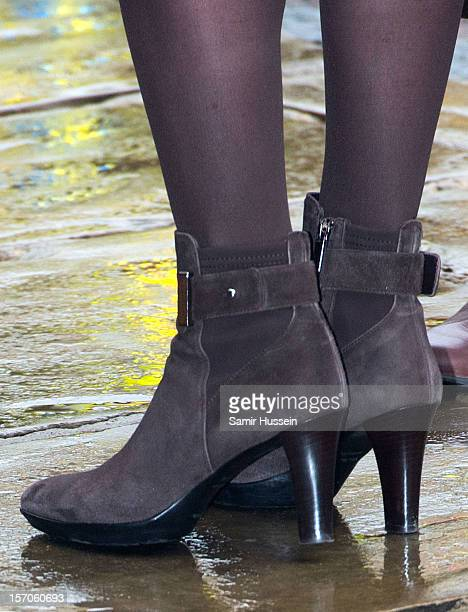 Ankle boots worn by Catherine Duchess of Cambridge during an official visit to the Guildhall with Prince William Duke of Cambridge on November 28...