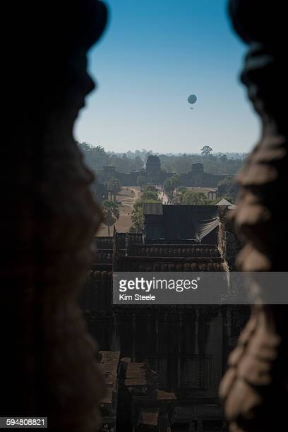Ankor Wat Temple Tower with air balloon, Cambodia
