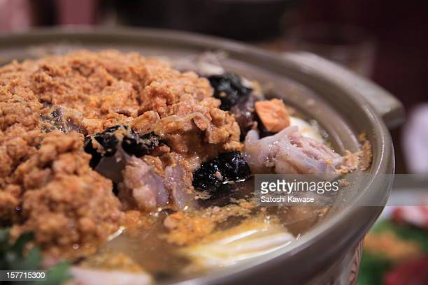ankou nabe (monkfish hot pot) - animal internal organ stock photos and pictures