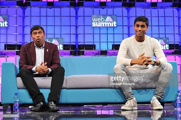 Ankur Jain Founder Humin and Naveen Jain Founder CEO Inome speaks on stage during the second day of the 2015 Web Summit on November 4 2015 in Dublin...