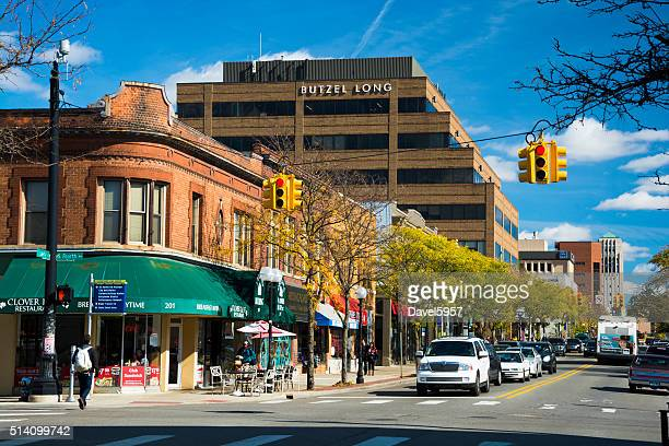 Ann Arbor downtown street scene with office building
