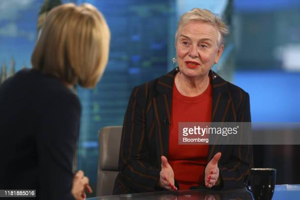Ann Cairns vice chairman of Mastercard Inc gestures while speaking during a Bloomberg Television interview in London UK on Tuesday Nov 12 2019...
