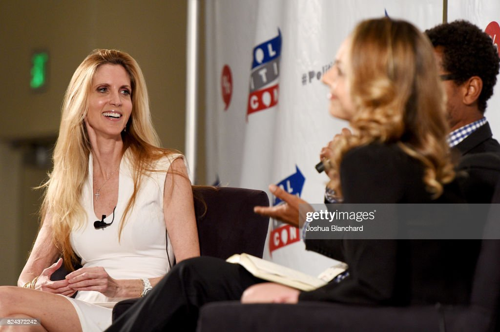 Ann Coulter (L) and Ana Kasparian at 'Ann Coulter vs. Ana Kasparian' panel during Politicon at Pasadena Convention Center on July 29, 2017 in Pasadena, California.