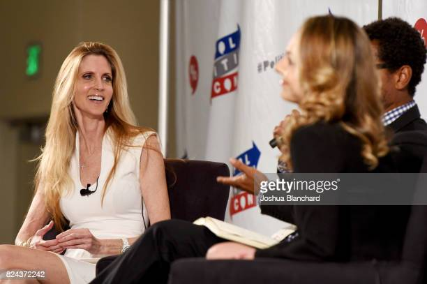 Ann Coulter and Ana Kasparian at 'Ann Coulter vs. Ana Kasparian' panel during Politicon at Pasadena Convention Center on July 29, 2017 in Pasadena,...